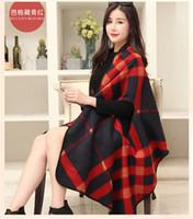 grandes lenços grossos venda por atacado-Outono e inverno nova imitação cashmere senhora xale mulher capa grande inverno étnica vento duplo grosso cachecol