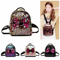 Wholesale wall ties resale online - Women Sequins Bow Tie Backpacks Colors Teenage Girls Travel Mini School Bags Shoulder Bag Storage Bags OOA5416