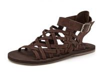 moda de couro maduro venda por atacado-Homens de Luxo de verão Sandálias Gladiador Moda Masculina Sandalias Maduros Sapatos de Praia Flats de Couro Sólida Roma Banda Casual Vestido Sandálias
