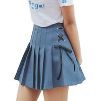moda coreana bonito da sarja de nimes venda por atacado-Harajuku Lolita Mulheres Denim Saias Coreano Moda Saia de Verão Kawaii Laço Arco Rosa Bonito Cintura Alta Plissada Saia Uniforme Feminino