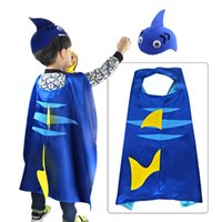 ingrosso cappello di squalo blu-Halloween Christmas Animals Cloak Shark Tail Capo Costume Cappello blu Set Regalo per bambini per il festival Festa Cosplay Performance