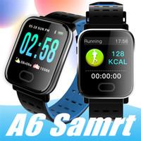 pulseiras de pulso venda por atacado-A6 Pulseira relógio inteligente Touch Screen Water Resistant Smartwatch telefone com o Heart Rate Monitor do esporte que funciona Calorias banda pk Xiaomi