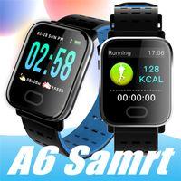 muñequeras de correr al por mayor-A6 pulsera de reloj inteligente de pantalla táctil resistente al agua Teléfono SmartWatch con Pulsómetro Deporte de Calorías