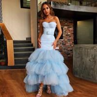 hoch niedriger blauer paillettenschatz großhandel-Erstaunliche blaue Meerjungfrau Ballkleider Pailletten Tiered Tüll Asymmetrischer Saum Party Kleid Schatz High Low Celebrity Dress