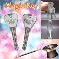 gefaltete schlüssel großhandel-2 Teile / satz Magie Klappschlüssel Lustige Trick Spielzeug für Kinder Jugendliche Erwachsene Einfache Legierung Zaubertrick Requisiten für Gesellschaftsspiele Leistung Geschenk