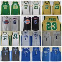 jerseys verdes azules al por mayor-St Vincent Mary High School Irlandés 23 LeBron James Jerseys Blanco Verde St. Patrick Kyrie Irving Baloncesto Jersey Tune Squad Duke Blue Devils