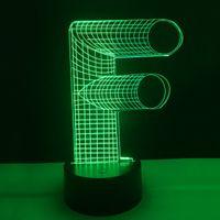 f alphabet großhandel-2018 neue F Alphabet Letter 3D Optische Lampe Buchstaben Dekoration Nachtlicht DC 5 V USB Powered. Batterie Großhandel Dropshipping