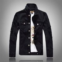 Wholesale korean clothes jackets women - Mens Women Denim Jackets Outwear Coats Holes Jackets Korean Tops Spring Autumn Clothing 2018 New Fashion S M L XL XXL XXXL Black Red White