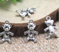Wholesale antique bear pendant resale online - 30pcs Teddy bear Charms Antique Tibetan silver Teddy bear charm pendants x17mm