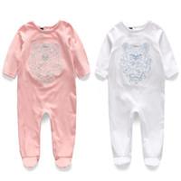 boné laranja bebê venda por atacado-Novas Crianças pijamas macacão de bebê recém-nascido roupas de bebê roupas de manga longa roupa interior de algodão meninos meninas outono macacão