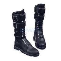 bottes lacées à boucle noire achat en gros de-Lacets noirs à l'échelle 1/6 Up Buckle Flat Long Boots Bottes Chaussures pour 12 pouces Action Figure Body Body
