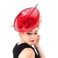 chapeaux roses pour femmes achat en gros de-2018 Haute Qualité Rose Lin De Mariage Chapeaux pour Femmes Élégant Vintage Sun Beach Chapeaux Cheveux Accessoires Top Caps chapeaux de mariage pour femme