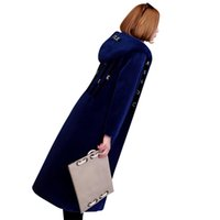 Wholesale Haining Fur - 2017 New Winter Women's Fashion Haining Fur Coat Medium Long Lamb Fur High-end Temperament Large code wool letter Coat