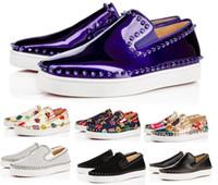 erkek tasarımcı tekne ayakkabıları toptan satış-Ucuz Tasarımcı Kırmızı Alt Sneakers Rahat Ayakkabılar Mens Womens Gümüş Like Spike Flats Loafer'lar Pik Tekne Hakiki Deri Lüks Adam ...