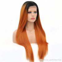 Wholesale orange front lace synthetic wig - 2018 New Sexy Long Straight Synthetic Lace Front Wigs Dark Roots Ombre Orange Red Color Heat Resistant Fiber Hair Wigs for Women