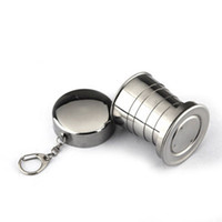 Wholesale travel folding cup stainless steel - 75ml Travelling Demountable Collapsible Cup Stainless Steel Camping Folding Cup Portable Outdoor Telescopic Cup With Keychain DDA89