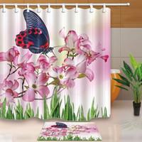 frühlingsblumen pflanzen großhandel-Frühling Pflanzen Bad Vorhang, Floral Schmetterling fliegen auf rosa Blumen, Duschvorhang Anzug