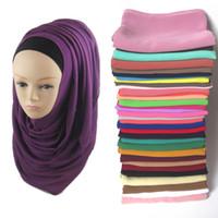 Wholesale muslim headbands - 20pcs lot Pearl Bubble Chiffon Plain Scarf Shawl Beach Wrap Headband Muslim Hijab Solid Colors