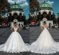 Wholesale wedding forms - Princess White Ivory Lace A Line Wedding Dresses 2018 Sexy Backless Off the Shoulder Appliqued Ruched Long Bridal Gowns Form Custom Made