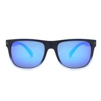 lente azul para gafas al por mayor-Gafas de sol de revestimiento de goma cuadradas de la vendimia Hombres Lentes de espejo espejado azul Marco Gafas de sol