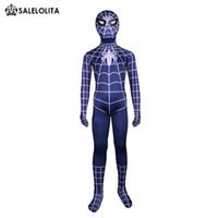 homens traje do bodysuit venda por atacado-2017 Crianças Trajes Azuis Crianças Homem Aranha Azul Lycra Spandex Zentai Bodysuit Para Criança