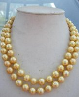 Wholesale 35 inch south sea pearls resale online - 35 inch Natural mm south sea gold shell pearl necklace Silver Clasp