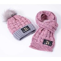 Winter Girls Hat And Scarf Set For Children Kids Knitted Soft Stretch Cable Hats Scarfs Boys Pompom Cap Scarves Warm Suit MZ7118
