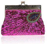 Wholesale wholesale red clutches online - DHL Aresland Women s Beaded Sequin Peacock Clutch Evening Bag Wedding Bridal Party Prom Handbag Chinese Traditional Clutch Free ship