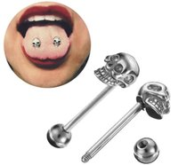 Wholesale nails hot plate - Hot Body Piercing Jewelry Stainless Steel Skull Tongue Ring Tongue Nail Nipple Ring Nipple Nail Wholesale D0393