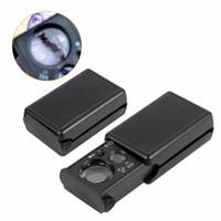 ingrosso microscopio portatile portatile-30X 60X Lente di ingrandimento LED Valutazione dei gioielli Lente di ingrandimento alta Lettura portatile Vetro di alta qualità 2xx C R