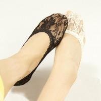 chinelos de renda meia venda por atacado-Moda feminina meninas preto nu rendas meias florais chinelos senhora meias de casamento para os saltos de 12 pares / lote