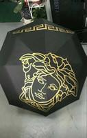 dibujo de paraguas al por mayor-Nuevo diseño Medusa Paraguas de metal negro Paraguas Clásico Mujeres Automático Logotipo vintage de lujo Paraguas con caja de regalo