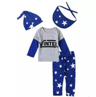 Wholesale winter outfits for toddlers - Baby cute stars pattern outfits 4pc sets hat+bibs+T shirt+pants toddlers winter letters printing clothing for 0-2T B11