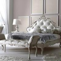 muebles europeos franceses al por mayor-Dormitorio de madera maciza de 1,8 metros con camas dobles, cama de lujo, dormitorio principal, cama europea simple, muebles de cama francesa.