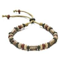 lehm handgefertigte keramik für schmuck großhandel-Großhandels-Heißer Art- und Weiseschmucksache-Unisex-Lehm-Charme-Armbänder handgemachtes Perlen-Handseil-Keramik-Armband für Frauen-Mann-justierbare Länge