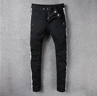Wholesale Motor Fit - Classic Black Color White Stripe Fashion Mens Jeans Slim Fit Denim Motor Jeans Homme Pants Balplein Brand Biker Jeans Men