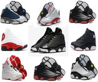 Wholesale 13 Wide - 2017 Mens Basketball Shoes 13 Bred Black True Red History Of Flight DMP Discount Sports Shoe Women Sneakers 13s Black Cat With Box