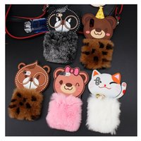Wholesale Bear Warmer - Lovely Cartoon Squirrel Glasses Bear Winter Warm Plush Artificial fur Soft Phone Case For iPhone X 8 7 6 6S Plus iPhone8 iPhoneX