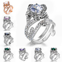Wholesale Green Crystal Rings - Crystal Cubic Zironia Ring Flower Rose Gemstone Cluster Rings Wedding Rings for Women Jewelry Gift Drop Shipping