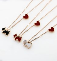 Wholesale gold little heart for sale - Group buy 2018 New Little Dog Pendant Necklace Heart Pendant Titanium steel rose gold Fashion Jewelry Gift for Women