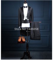 2017 Classic Shiny Black Tail Coat Groom Tuxedos Groomsman Suit Custom Made Wedding Dinner Suits Tailcoat Jacket+Pants+Vest+Bow
