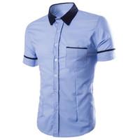 blusa coreana de verão da primavera venda por atacado-Breve estilo menino clube camisa masculina manga curta versão coreana blusa meninos desgaste do escritório patchwork blusa blusas homens primavera verão