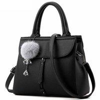 ingrosso borse medie delle signore-Donne pelliccia ornamenti palla totes cerniera borsa media borsa della signora partito nuova tracolla messenger borse a tracolla (nero)