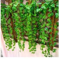 ingrosso mini vaschette verdi-Piante artificiali lunghe di 230cm / 7.5 ft L'edera verde lascia l'uva artificiale Vine foglie di fogliame falso Decorazione di nozze a casa