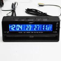 voltímetro termômetro carro venda por atacado-3 em 1 Digital LCD Auto Relógio Termômetro Voltímetro com Backlight Acessórios Do Carro Monitor de Monitor de Temperatura Tensão Assista