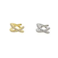 ingrosso monili d'argento del micro inlay-2018 nuovo design moda argento 925 micro intarsio zircone le linee croce orecchini clip orecchio per le donne ragazze gioielli delicati