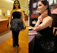 Wholesale white ostrich feather prom dress resale online - Black Prom Dresses Vestido De Festa Ostrich Feather Ankle Length Evening Party Gowns Plus Size Dubai Women Formal Dress ashi studio