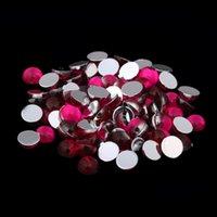 cuentas de acrílico rosa al por mayor-Color rosa oscuro muchos tamaños a medias facetas redondas Flatback acrílico pedrería para cuentas de uñas 3D suministros de arte del clavo decoraciones