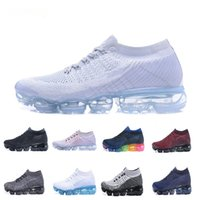 Wholesale sports hiking - 2018 Rainbow VaporMax BE TRUE Men Women Shock Running Shoes For Real Quality Fashion Men Casual Vapor Maxes Sports Sneakers
