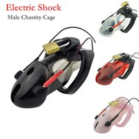 Wholesale electro male chastity device for sale - Group buy Electric Shock Male Chastity Devices Cock Cage Electro Shock Stimulation Chastity Belt Penis Lock Adult Games Sex Toys For Men Y18110302